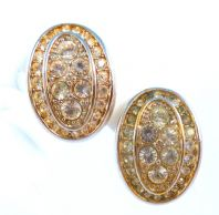 Vintage Crystal Rhinestone Set Curved Oval Clip On Earrings By Swarovski.